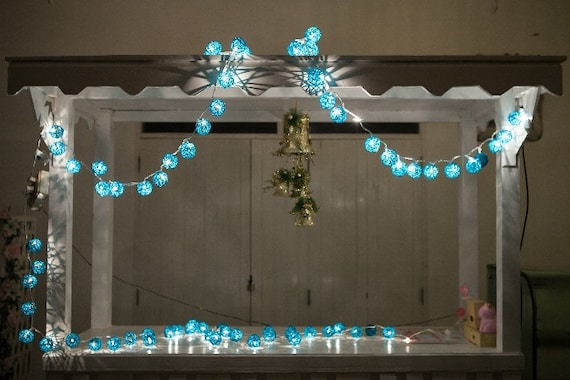 On-Off Switch 20 bulbs Turquoise Rattan ball string lights