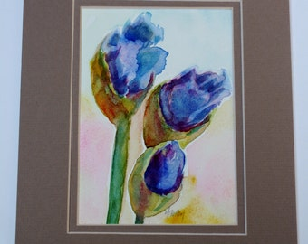 Flower Painting - Iris painting - Garden Bouquet - original painting watercolor floral - fine art home decor wall art - purple flowers