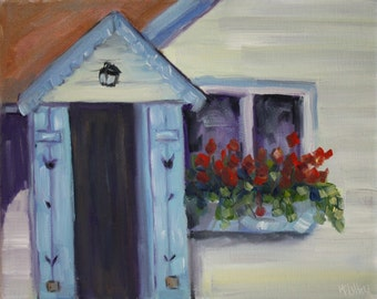 Flower Painting - Door Painting - cottage window box - geraniums in window box - blue door house painting