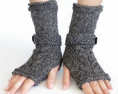Cableknit fingerless gloves, wrist warmers, arm warmers, fingerless mittens with a strap and a button - READY to ship