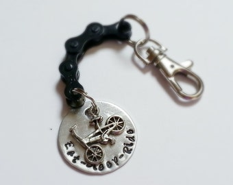 Personalized Hand Stamped Bike Chain Keychain - KETEXT05