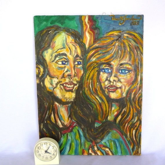 ORIGINAL OUTSIDER Vintage PORTRAIT/ Hippie Couple Oil Painting