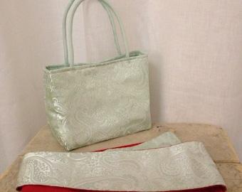 Mint Brocade Handbag and Obi Sash Gift Set
