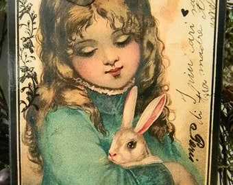 Victorian Girl with Bunny Easter Decorative Plaque