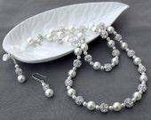 Bridal Pearl Rhinestone Necklace Bracelet Earring Jewelry Set Crystal Wedding Jewelry Set White or Ivory Pearl ST007LX