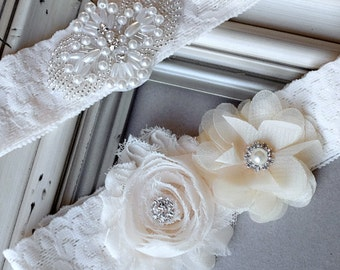 Wedding Garter Belt Set Bridal Garter Set Ivory Lace Garter Belt Lace Garter Set Rhinestone Crystal Pearl Center Garter GR105LX