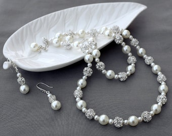 Bridal Pearl Rhinestone Necklace Bracelet Earring Jewelry Set Crystal Wedding Jewelry Set White or Ivory Pearl ST007LX