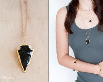 Arrowhead Necklace - Black Obsidian Arrowhead Gold Necklace - Layering Necklace - Bohemian Necklace - Boho Hippie Chic Necklace