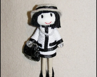 Doll Brooch Haute Couture white Suit Fabric Pin Felt Hat Leather Bag  Leather Shoes