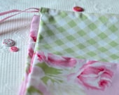 Shabby Chic Laundry Bag. Cottage Chic. Pink floral drawstring bag. Roses and Gingham. europeanstreetteam