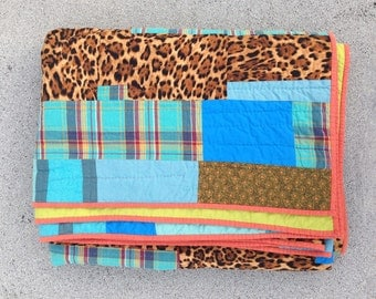 Twin size quilt: Bermuda Run quilt | twin size improv modern quilt recycled upcycled handmade leopard plaid blue yellow green pink