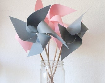 Wedding favor Birthday favors Grey and pink Wedding Decorations First Birthday Party - 6 Large Pinwheels (Custom orders welcomed)