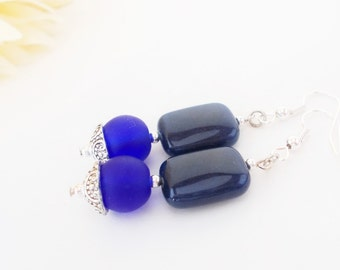 Blue Jade Earrings, Seaglass Earrings, Denim Blue Earrings, Dangle, Midnight Blue Earrings, Royal Blue Earrings, Dark Blue Glass Earrings
