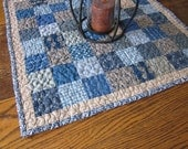 Calico print, homespun patchwork table topper, table runner, mini quilt