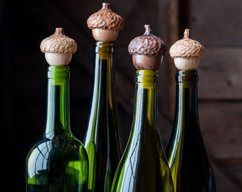 Two Acorn Wine Stops, Set of Bottle Stoppers, Hostess Gift,  Wine Stoppers, Gift under 30