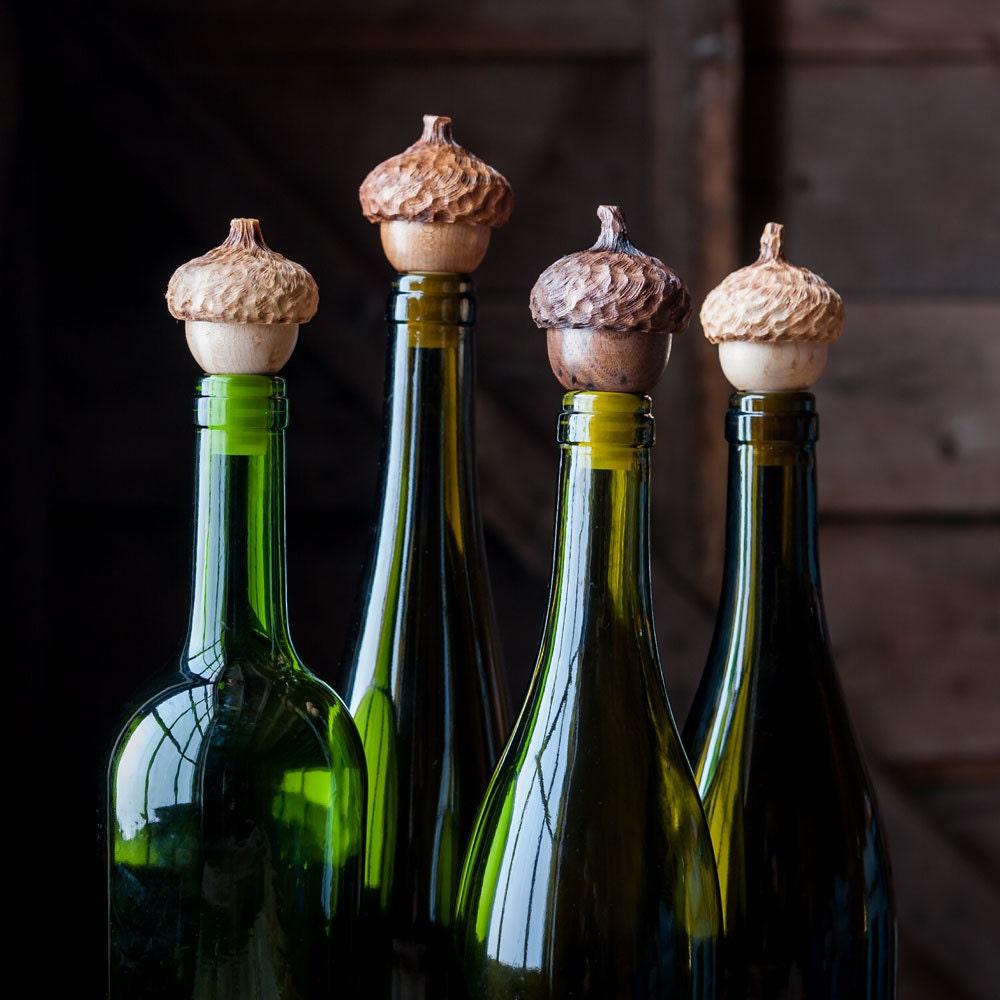 Two Acorn Wine Stops Set Of Bottle Stoppers Hostess Gift