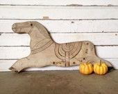 Primitive Rustic Horse Wall Hanging Painted Sign Rocking Horse