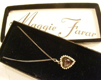 Vintage New in Gift Box Glass and Rhinestone Heat Pendant, Vintage Signed Heart Necklace