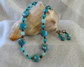 Turquoise Beaded Necklace With Earrings