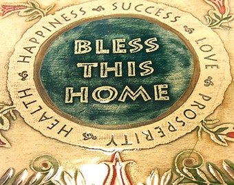 Blessed Be This Home. Ceramic Wall Art. Hand Made in Israel - 24c gold decorated-limited edition