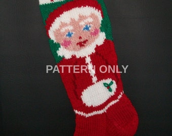 PRINTED Pattern Only Hand Knitted Mrs. Claus Christmas Stocking