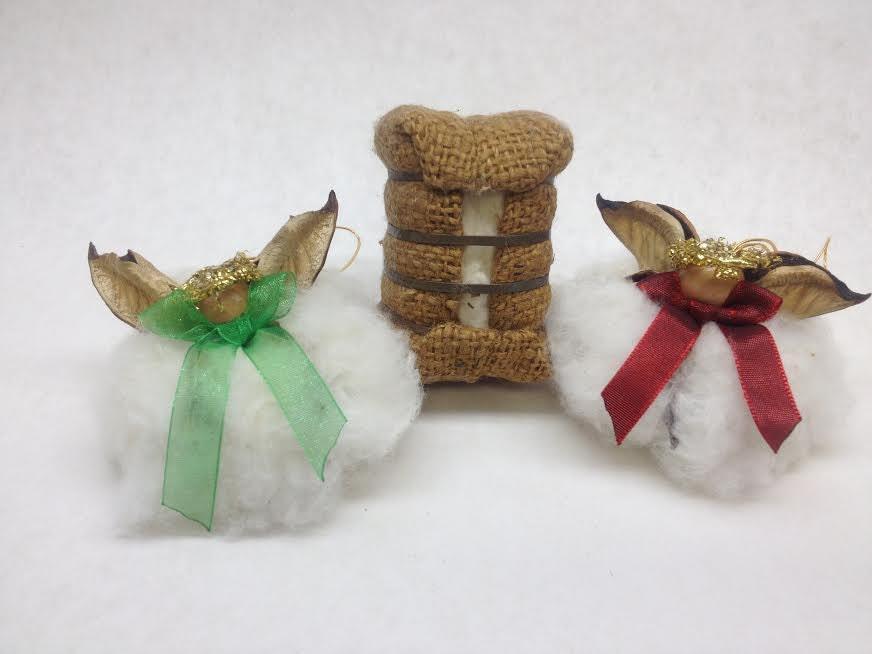 Cotton angel boll ornament organza bow christmas