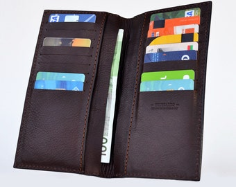 Leather wallet for men- Made of premium Italian dark brown leather