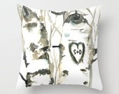 Personalized Valentines Gift Day Birch Forest with Custom Initial Carved Heart Watercolor Pillow Cover
