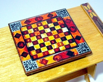 Rustic Chess Board, Medieval Dollhouse Miniature 1/12 Scale, Hand Made