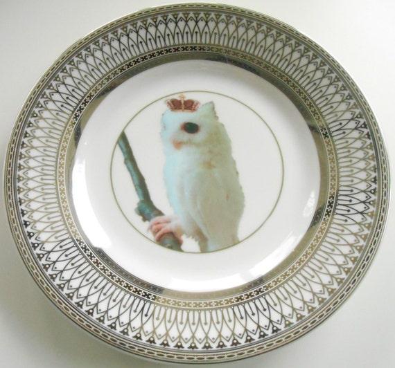 Silver Owl Bird Dinnerware Plates Owl Dishes Bird Plate Owl China Owl Dinnerware & Silver Owl Bird Dinnerware Plates Owl Dishes Bird Plate