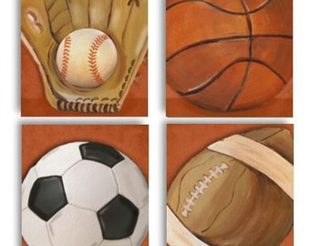 Orange MVP Sports Ball Collection Set of 4 paper prints
