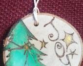 Christmas Tree Joy Wood Burned Ornament