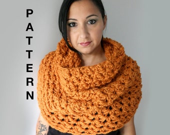 Chunky Crochet Cowl Pattern, Super Easy and Quick Oversized Cowl Scarf Crochet Pattern, PDF Download
