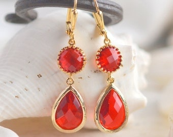 Red Drop Earrings.  Red Drop Earrings. Dangle Earrings.  Christmas Jewelry. Holiday Earrings. Gift. Jewelry.  Christmas Gift. Holiday Gift.