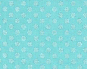 Aqua Polka Dot Fabric - Spot On Pearl- Robert Kaufman Fabric - 1/2 YARD (18 x 44 inches)