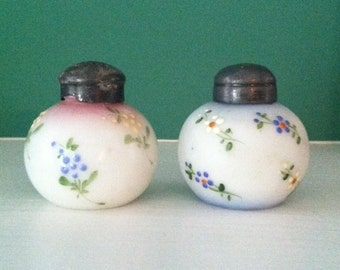 Antique Mt. Washington Milk Glass Little Apple Shakers Pair