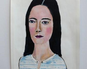 Original acrylic portrait painting // ink drawing // original art on paper // Virginia June Series 6