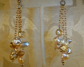 Keshi Freshwater Pearls Multi Color Dangle Earrings Gold or Silver, Artisan Handcrafted in America