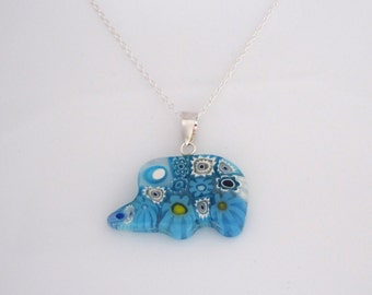 Blue flowers Millefiori ELEPHANT sterling silver pendant with necklace, Good Luck symbol, kids necklace