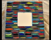 Multicolored Stained Glass Shards Mosaic Mirror