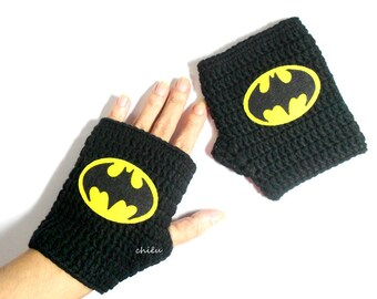 BATMAN Mittens Crochet Gloves Fingerless mitts cotton yarn Black and Yellow
