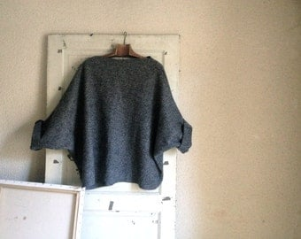 Grey Slouchy Warm Tunic Sweater in Boiled Wool - Marl Grey - Raglan Wide Sleeves.