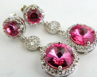Rose Bridesmaid Earrings Set of 3 Bridesmaid Jewelry, Pink Swarovski Dangle Earrings, Pink Wedding Jewelry Sets, Bridesmaid Pink Earrings