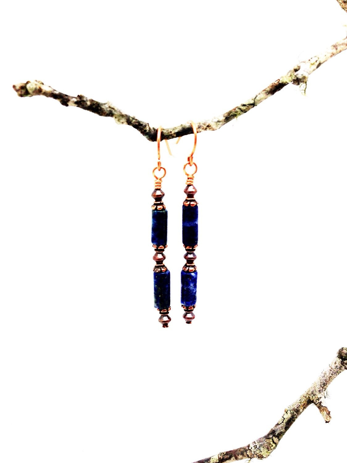 peace love harmony sodalite and copper earrings. Black Bedroom Furniture Sets. Home Design Ideas
