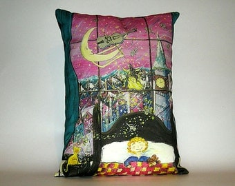 Children's Fairy Tale Pillow Cover - Fiddlers Moon at Bedtime