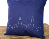 Classic Chicago Skyline Pillow, Navy Blue, with White city stitching, great gift, men or women
