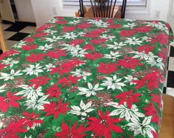 Vintage Christmas Tablecloth Pinecones and Poinsettias
