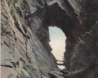 The Briary Cave- 1900s Antique Postcard- Ilfracombe- Devonshire, England- Natural Rock Formation- The British Mirror- Paper Ephemera