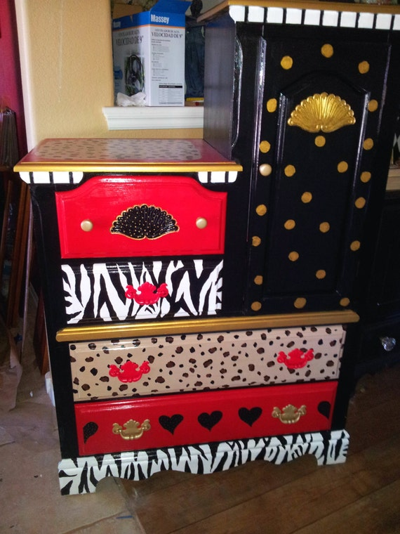 Items Similar To Leopard Print Painted Dresser Whimsical