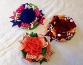 Hairbow Set of 3 Autumn Fall Colors ribbon rosette bows